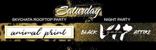 Saturday Roofchata Party Animal Print Night Party Black VIP Gala